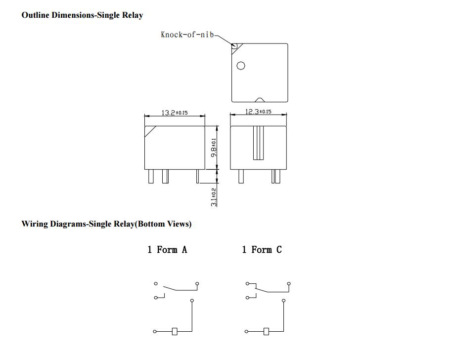 Реле DC 12V 30A 5pin TRS L-S-Z (13,2x12,0x9,8) TIANBO (одна переключающая группа)