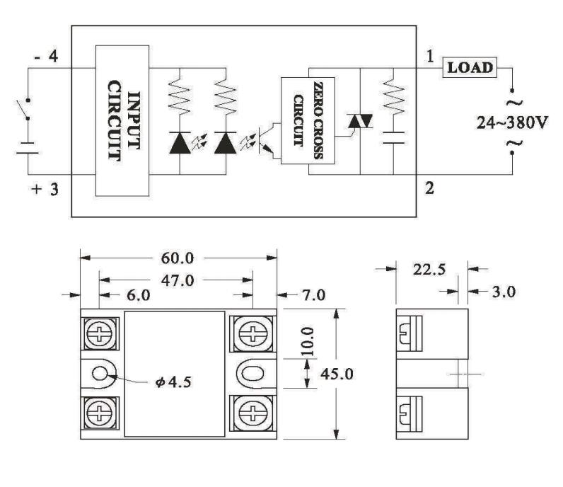 Реле твердотельное DC 3-32V 40A(AC24-380V) 4pin SSR-40DA (64x45x25мм)