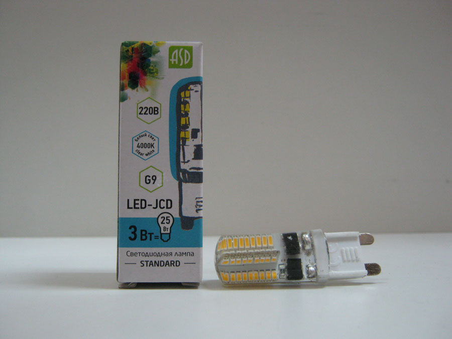 Лампа светодиодная 220V G9 3W 4000K ASD LED-JCD