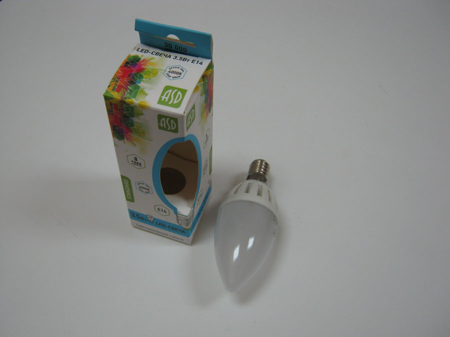Лампа светодиодная 220V E14 3,5W 4000K ASD LED-СВЕЧА