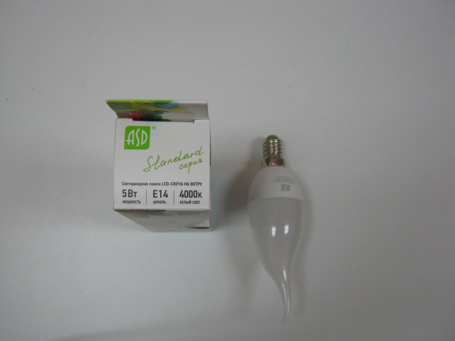 Лампа светодиодная 220V E14 5W 4000K ASD LED-СВЕЧА НА ВЕТРУ