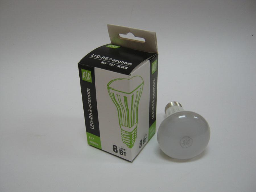 Лампа светодиодная 220V E27 8W 4000K ASD LED-R63