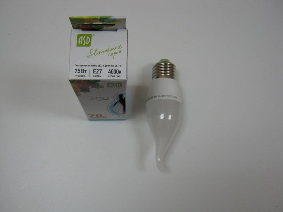 Лампа светодиодная 220V E27 7,5W 4000K ASD LED-СВЕЧА на ветру