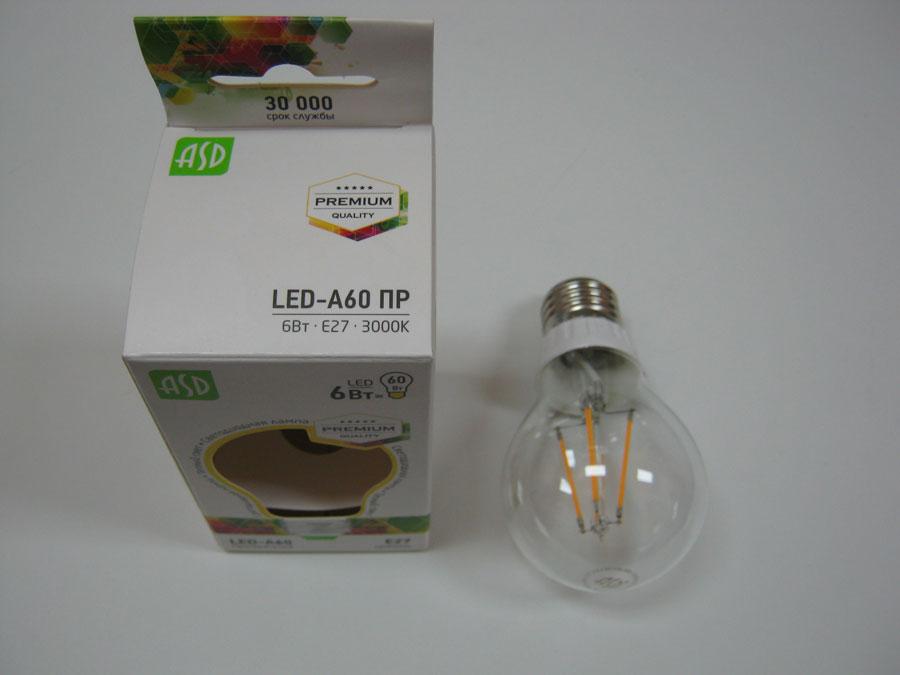 Лампа светодиодная 220V E27 6W 3000K ASD LED-A60 ПРЕМИУМ