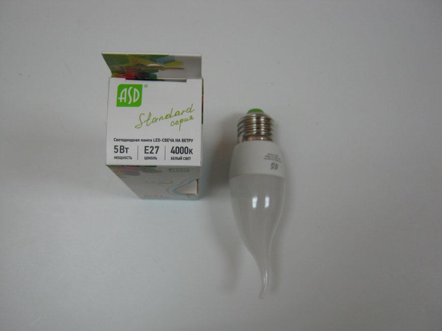 Лампа светодиодная 220V E27 5W 4000K ASD LED-СВЕЧА на ветру