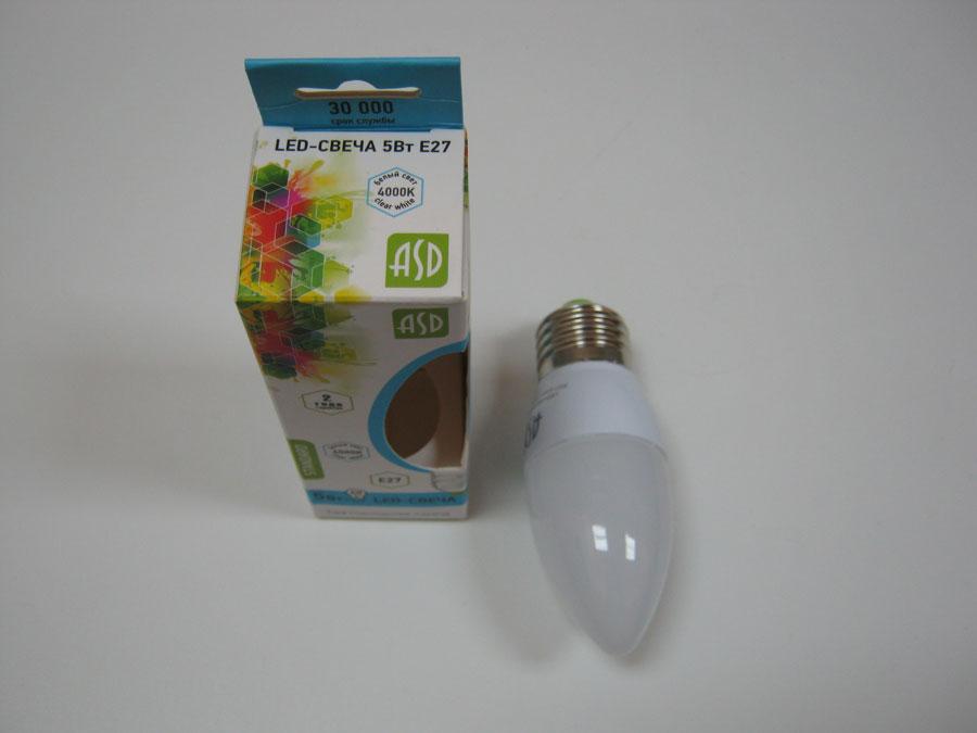 Лампа светодиодная 220V E27 5W 4000K ASD LED-СВЕЧА