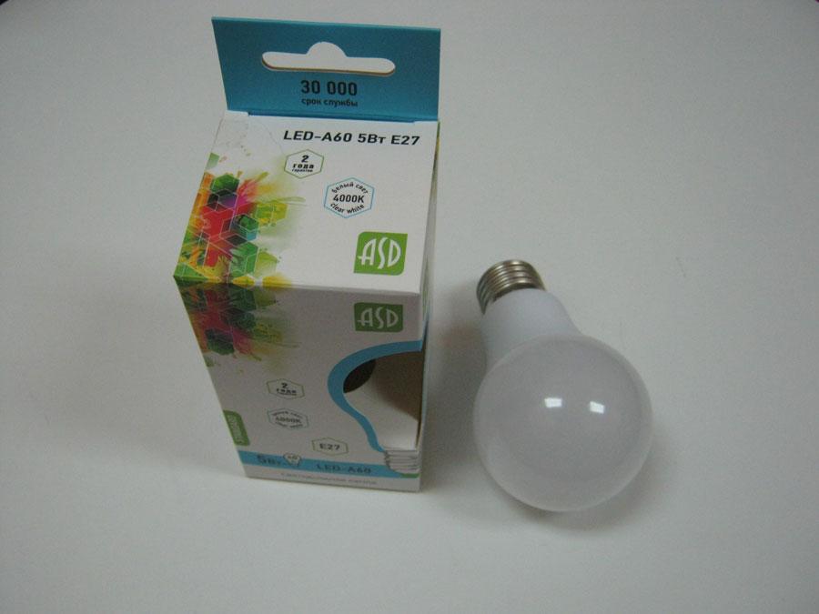 Лампа светодиодная 220V E27 5W 4000K ASD LED-A60