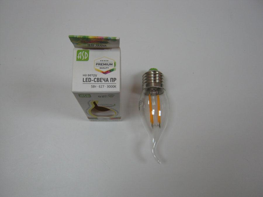 Лампа светодиодная 220V E27 5W 3000K ASD LED-СВЕЧА ПРЕМИУМ на ветру