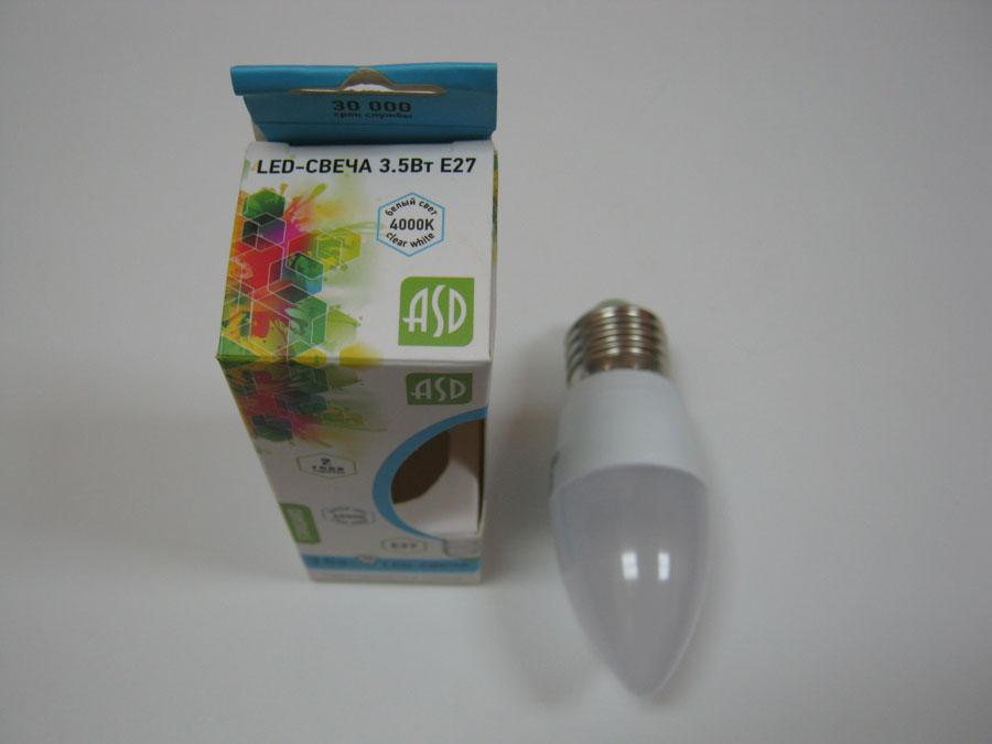 Лампа светодиодная 220V E27 3,5W 4000K ASD LED-СВЕЧА