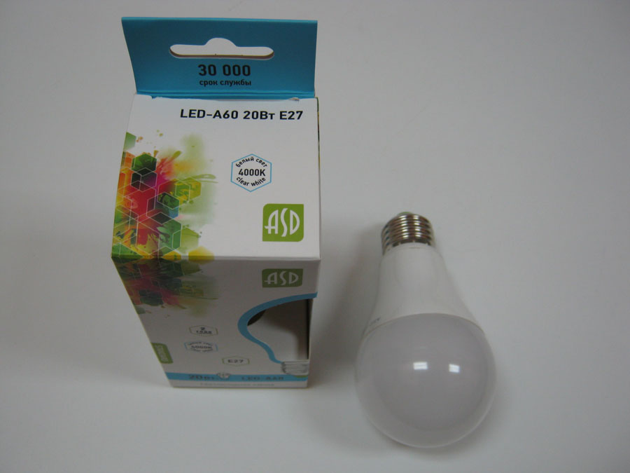 Лампа светодиодная 220V E27 20W 4000K ASD LED-A60