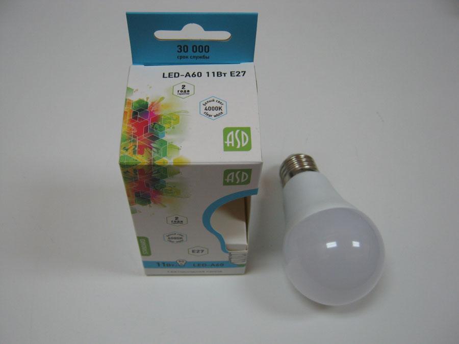 Лампа светодиодная 220V E27 11W 4000KASD LED-A60