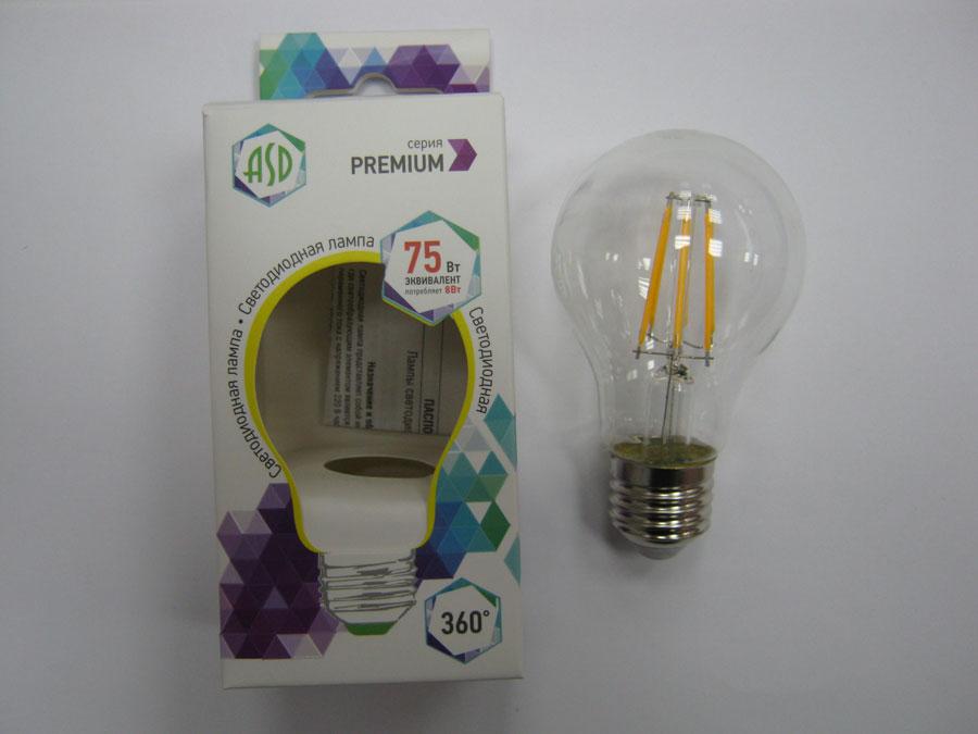Лампа светодиодная 220V E27 8W 3000K ASD LED-A60 ПРЕМИУМ