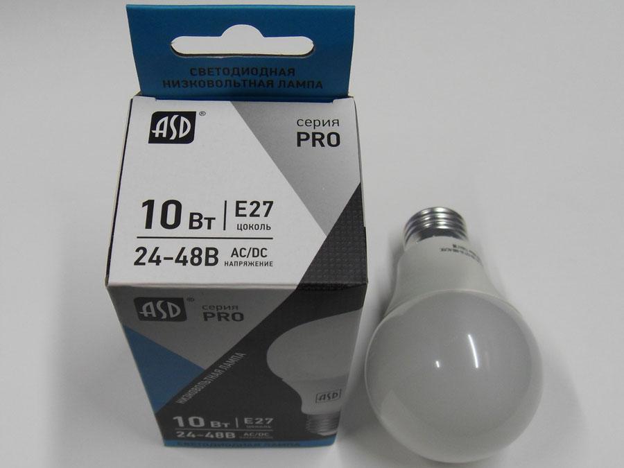 Лампа светодиодная 24-48V E27 10W 4000K ASD LED-MO-PRO
