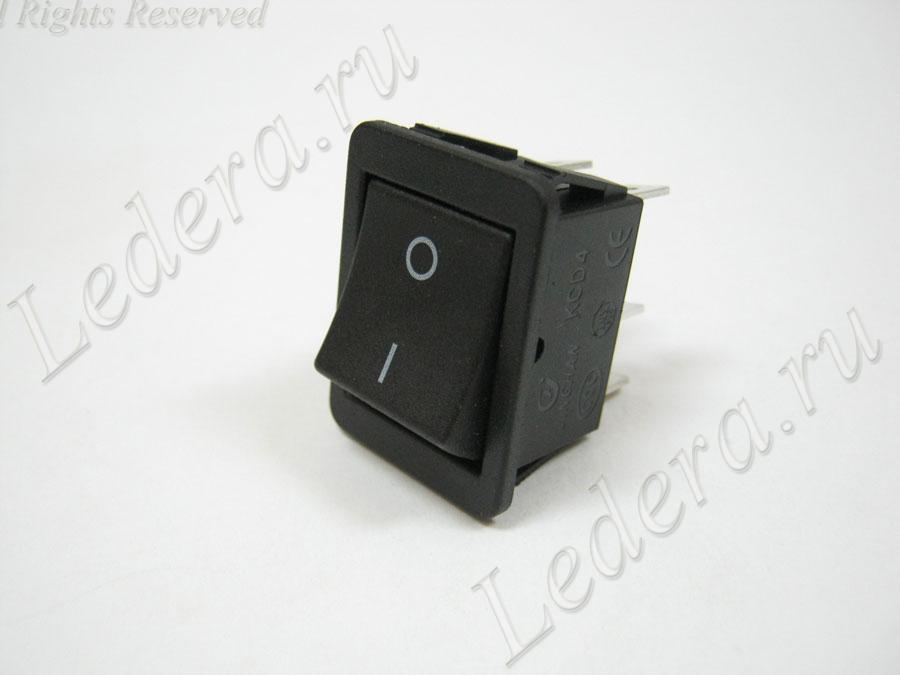 Клавиша сетевая (OFF-(ON)) 6pin (чёрный) KCD4-203/PV