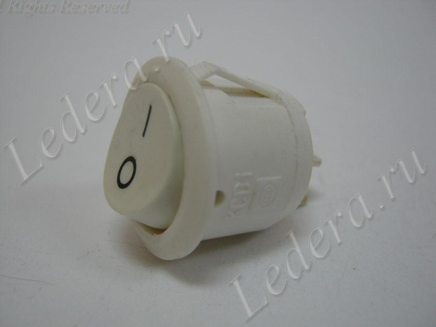 Клавиша круглая (OFF-ON) 2pin (белый/белый корпус) RS-101-8C