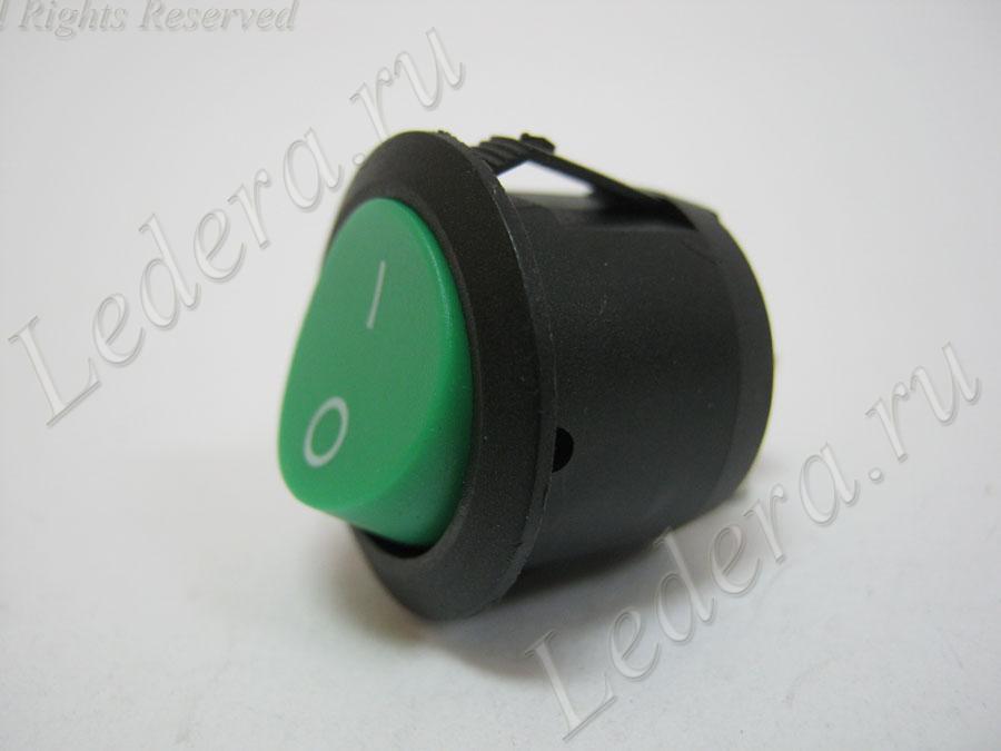Клавиша круглая (OFF-ON) 2pin (зелёный) KCD1-202 2P