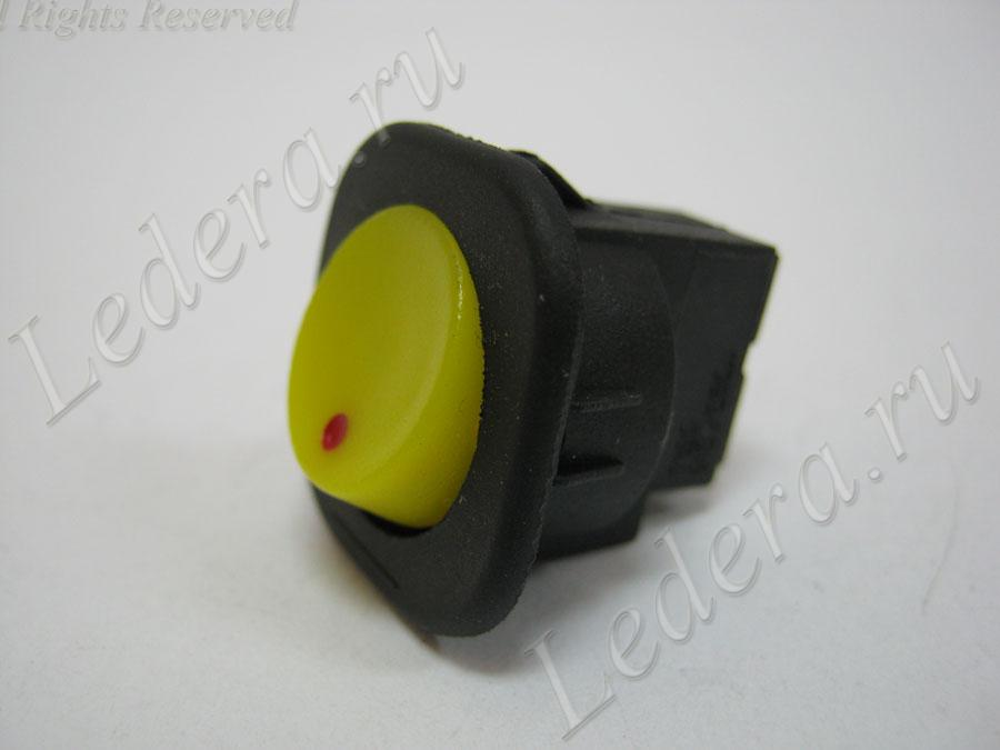 Клавиша круглая (OFF-ON) 2pin/винт (жёлт.) RS-101-7C
