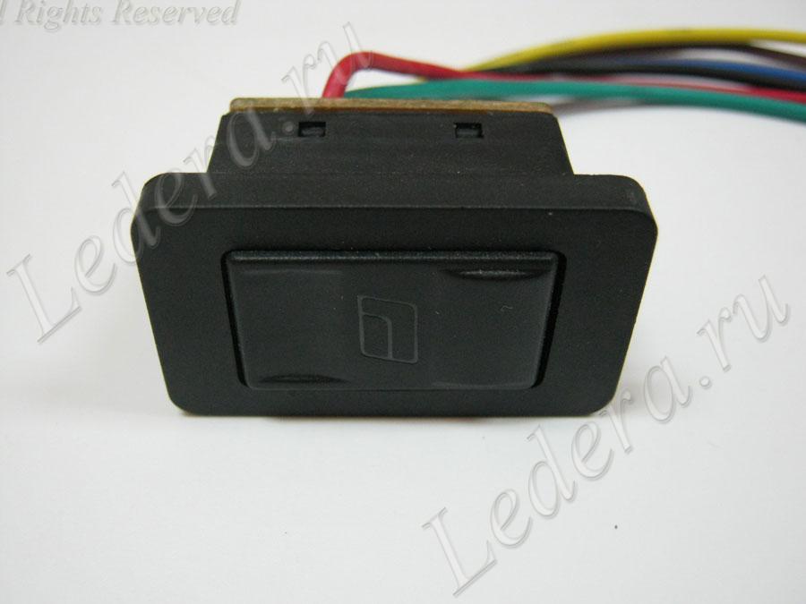 Клавиша стеклоподъёмника (ON)-OFF-(ON) 6pin 12V с проводами  (ASW-21D)